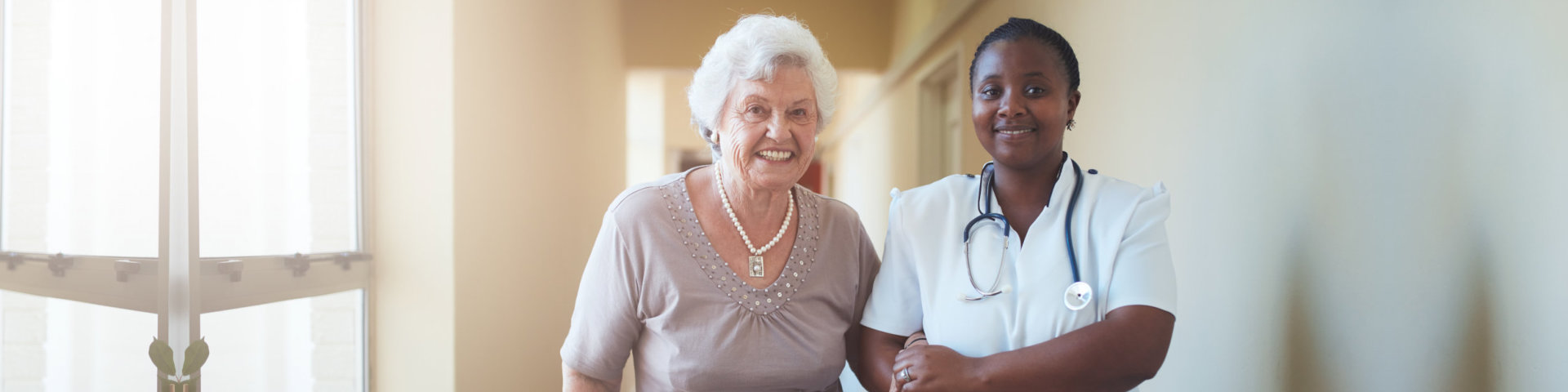 a nurse and an elderly woman